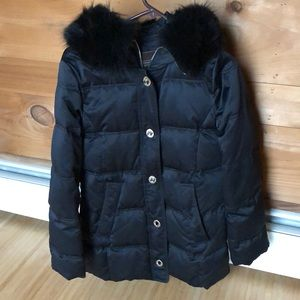Coach fur hood puffer down jacket coat